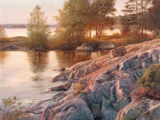 Oljemålning på Ängsö klippor, skapad av Lars Ahlberg