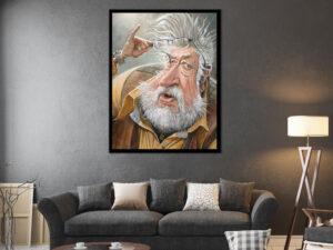 Eye of the beholder - målning i akryl av Lars Ahlberg som hänger ovanför en soffa i ett vardagsrum.