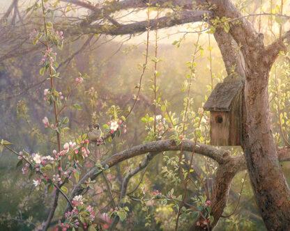 Oljemålning på äppelträd som knoppar, skapad av Lars Ahlberg