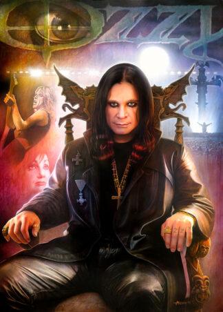 Poster på Ozzy Osboure, med Kelly och Randy - målning av Lars Ahlberg.
